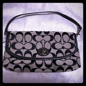 Black and grey signature coach small handbag/mini
